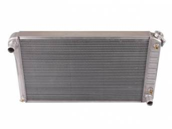 RADIATOR, Cross Flow, Aluminum, 2 Row, 28 1/4 inch x 18 1/4 inch x 2 1/4 inch thick core size, 1 1/2 inch LH inlet, 1 1/2 inch RH outlet, natural finish repro