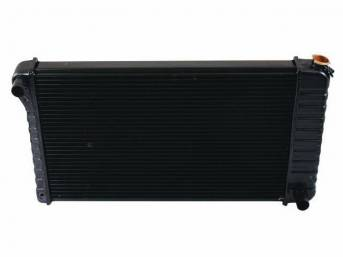 RADIATOR, Cross Flow, Copper / Brass, 4 Row, 28 3/8 inch x 17 inch x 2 5/8 inch thick core size, 1 1/2 inch LH inlet, 1 1/2 inch RH outlet, OE style repro