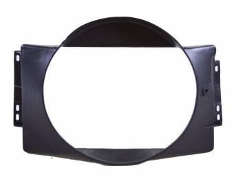 SHROUD, Radiator Fan, plastic, 20 inch height x 20 1/2 inch width (fan opening), 20 inch height x 28 7/8 inch width x 5 1/4 inch depth (over all specs)