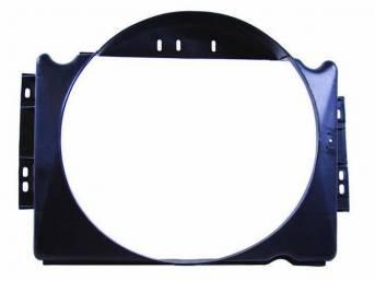 SHROUD, Radiator Fan, plastic, 21 1/4 inch height x 21 3/4 inch width (fan opening), 21 1/4 inch height x 28 7/8 inch width x 5 3/8 inch depth (total size)