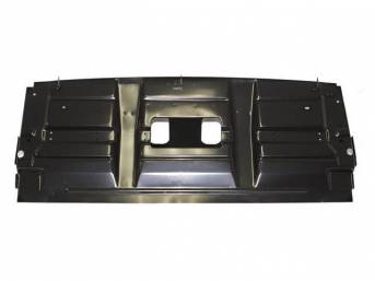 BRACKET, Rear Seat Backrest, EDP coated repro  ** Fits p/n C-12981-2B and C-12981-2C trunk pans w/o modification, customer must trim the corners to fit p/n C-12981-2A 1967 trunk floor pan **