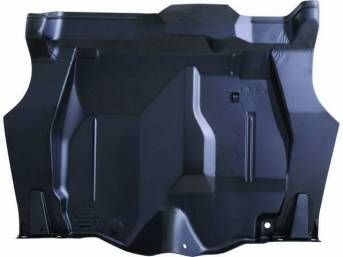FLOOR PAN, Rear Compartment / Trunk, Complete, incl drain hole location, gas strap reinforcements, tail panel braces and spare tire anchor bracket, EDP coated repro