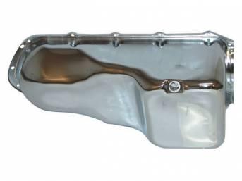OIL PAN, Engine, chrome plated steel, stock capacity,