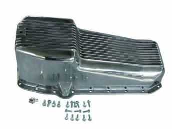 OIL PAN, Engine, finned polished aluminum, LH driver