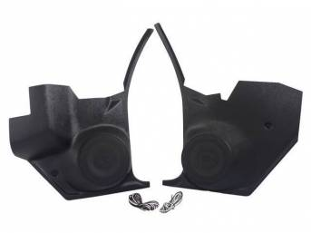 PANEL SET, Cowl Trim / Kick, Inner, w/ Vintage Car Audio 80 watt 6 1/2 inch o.d. speakers (incl grilles), plastic, black (paint as reqd), Vintage Car Audio repro