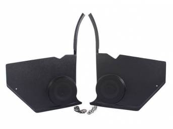 PANEL, Cowl Trim / Kick, Inner, w/ Vintage Car Audio 80 watt 6 1/2 inch speakers, Plastic, Black, Pair (Paint As Reqd), Vintage Car Audio Repro
