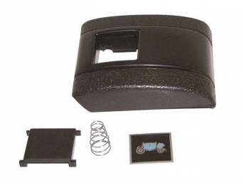 COVER ASSY, Seat Belt Buckle, Std Interior, Black (paint to match), Incl cover, button, black *Fisher Body* Coach emblem and spring, does not include base plate, OER repro