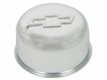 CAP / BREATHER, Oil Filler, push on for 1 1/4 inch o.d. hole, 3 inch o.d. cap / breather, chrome w/ embossed Chevrolet *bowtie*, GM licensed repro