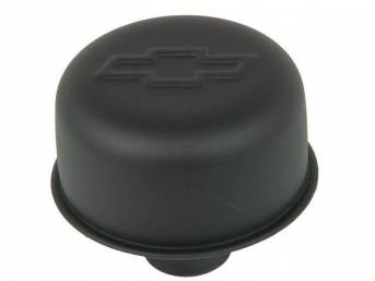 CAP / BREATHER, Oil Filler, push on for 1 1/4 inch o.d. hole, 3 inch o.d. cap / breather, black crinkle finish w/ embossed Chevrolet *bowtie*, GM licensed repro