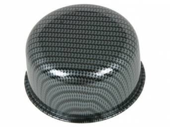 CAP / BREATHER, Oil Filler, push on for 1 1/4 inch o.d. hole, 3 inch o.d. cap / breather, carbon fiber finish w/ embossed Chevrolet *bowtie*, GM licensed repro