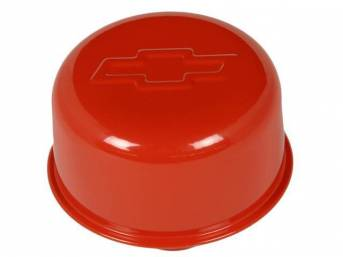 CAP / BREATHER, Oil Filler, push on for 1 1/4 inch o.d. hole, 3 inch o.d. cap / breather, orange finish w/ embossed Chevrolet *bowtie*, GM licensed repro