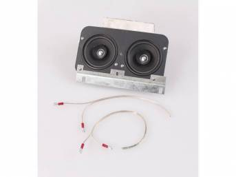 SPEAKER ASSY, In-Dash, High-Power, includes dual 4 inch O.D. 220 watt Kenwood speakers (featuring a 1 1/8 Inch O.D. tweeter) on a custom plate, mounts in factory location, repro