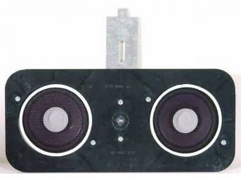 SPEAKER ASSY, In-Dash, Std, includes dual 4 inch O.D. 30 watt Vintage Car Audio coaxial speakers on a custom plate, mounts in factory location, repro