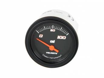 GAUGE, Oil Pressure, Classic Instruments, Velocity Black Series (gauge features orange pointer w/ orange outlined white markings on a black face), 2 1/8 inch diameter, 100 psi reading