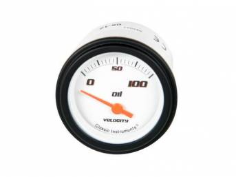 GAUGE, Oil Pressure, Classic Instruments, Velocity White Series (gauge features orange pointer w/ black markings on a white face), 2 1/8 inch diameter, 100 psi reading
