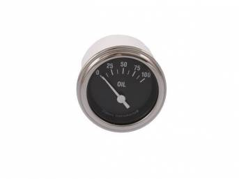 GAUGE, Oil Pressure, Classic Instruments, Hot Rod Series (gauge features white pointer w/ white markings on a black face), 2 1/8 inch diameter, 100 psi reading