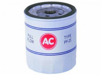 FILTER, Oil, *AC*, OE Correct PF25 white filter w/ red *AC* and blue markings, 4 1/4 inches tall, repro