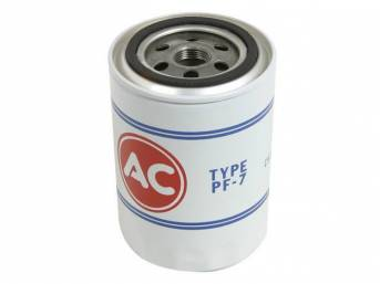 FILTER, Oil, *AC*, PF7 white filter w/ red *AC* and blue markings, not an exact repro (slightly shorter and does not have a welded nut on top of the filter)