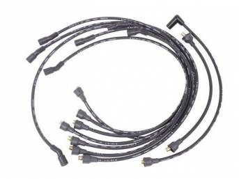 WIRE SET, Spark Plug, OE Correct, features black wires w/ *PACKARD*, *TVR*, *SUPPRESSION* and *1-Q-65* date code, Repro