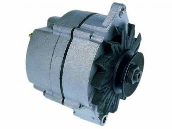ALTERNATOR, 61 AMP, natural finish case w/ single groove pulley, Rebuilt by Delco Remy (OEM)