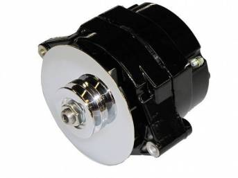ALTERNATOR, NEW, US-Made by Tuff Stuff, w/ 100 Percent New Components, 80 amp, incl black powdercoated finish case, fan and single groove pulley, repro