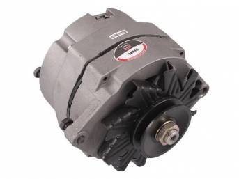 ALTERNATOR, 42 AMP, 5 1/2 inch diameter case, natural finish case w/ single groove pulley, rebuilt by Delco Remy (OEM)