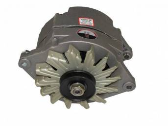 ALTERNATOR, 100 AMP, 6 5/8 inch diameter case, natural finish case w/ single groove pulley, rebuilt by Delco Remy (OEM)