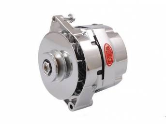 ALTERNATOR, New, Powermaster, Chrome Finish, 120 amp, 1 or 3 wire operation, GM 17si case, internal regulator, incl chrome single V-belt pulley and fan, straight mount 7.24 inch