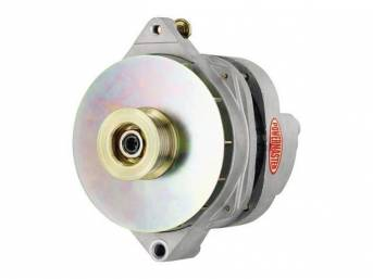 ALTERNATOR, New, Powermaster, Natural Finish, 200 amp, multi-wire operation, GM CS144 case, internal regulator, incl serpentine pulley and fan, straight mount 7.24 inch