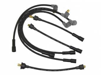 WIRE SET, Spark Plug, OE Correct, features black wires w/ *PACKARD*, *RADIO*, *TVRS*, *LR* and *1-Q-64* date code, Repro