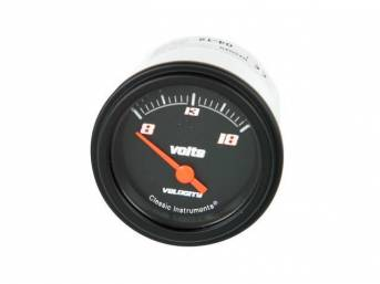 GAUGE, Electric Output / Volts, Classic Instruments, Velocity Black Series (gauge features orange pointer w/ orange outlined white markings on a black face), 2 1/8 inch diameter, 8-18 volt reading