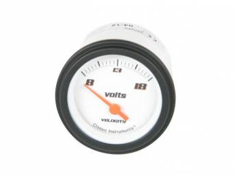 GAUGE, Electric Output / Volts, Classic Instruments, Velocity White Series (gauge features orange pointer w/ black markings on a white face), 2 1/8 inch diameter, 8-18 volt reading