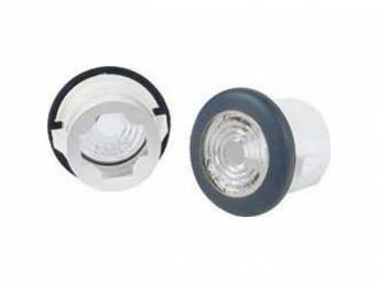 LIGHT ASSY SET, Side Marker, Front, clear lens w/ white housing, replaces original GM p/n 911138, repro