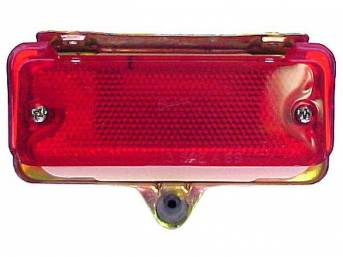 REFLECTOR ASSY SET, Rear Bumper, Incl correct gold iridite housing, red lenses and rubber bumpers, Repro