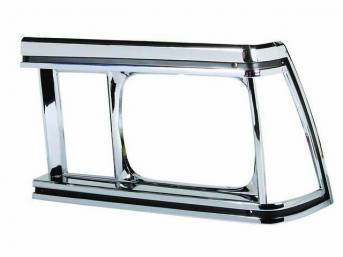 BEZEL, Head Light, LH, Repro  ** Originals were Black and Chrome Finish, but repros will come either w/ or w/o the black accents, only one supplier **