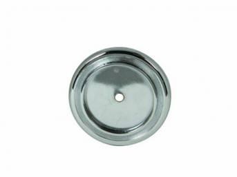 BEZEL / ORNAMENT / CAP, Horn Button, chrome finish, does not incl emblem, repro