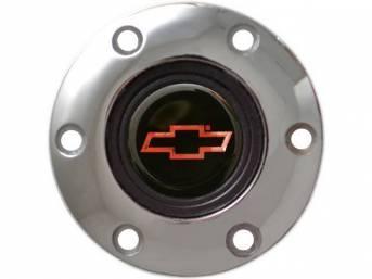 HORN CAP, Volante, S6 Sport 6 Bolt Series, Chrome Surround W/ Red Bowtie on a Black Background Center Cap