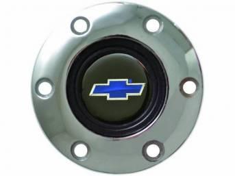HORN CAP, Volante, S6 Sport 6 Bolt Series, Chrome Surround W/ Blue Bowtie on a Black Background Center Cap