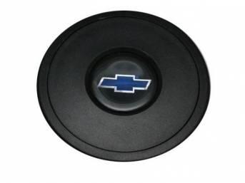 HORN CAP, Volante, S9 Premium 9 Bolt Series, Black Surround W/ Blue Bowtie on a Black Background Center Cap