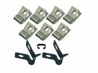 CLIP SET, Brake Lines, (10) incl seven 1/4 inch clips, two 5/16 inch clips w/ tabs and one 5/16 x 5/16 inch spring clip, repro