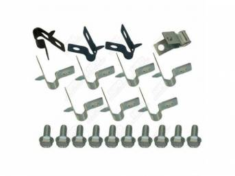 CLIP SET, Brake Lines, (21) incl ten bolts, two 5/16 inch clips and seven 3/8 inch clips w/ tabs, one 3/8 x 5/16 inch clip w/ tab and one rear axle clip, repro