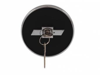 Cap, Gas, Bowtie Locking, Black W/ Chrome Finish and Chrome Bowtie, Repro