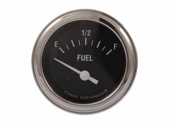 GAUGE, Fuel Quantity, Classic Instruments, Hot Rod Series (non-OE style appearance, gauge has white pointer w/ white markings on a black face), 2 1/8 inch diameter, 240-33 OHM reading