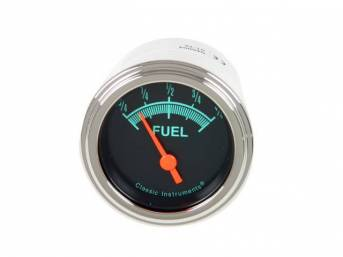 GAUGE, Fuel Quantity, Classic Instruments, G-Stock Series (OE appearance, gauge has orange pointer w/ green markings on a dark gray face), 2 1/8 inch diameter, 0-90 OHM reading