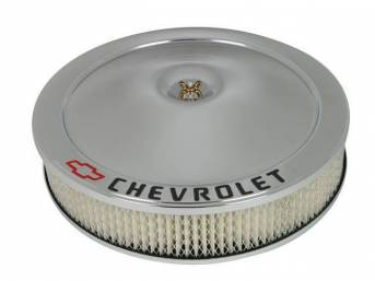 AIR CLEANER ASSY, Steel, Classic shape, 14 inch diameter x 3 inch height, Chrome finish, **CHEVROLET and Red Bowtie**, Incl paper filter and mounting hardware, Does not incl wing nut, GM Licensed item, Repro