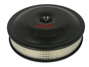 AIR CLEANER ASSY, Aluminum, Performance shape, 14 inch diameter x 3 inch height, Black finish, **CHEVROLET and Red Bowtie**, Incl paper filter, mounting hardware and wing nut, GM Licensed item, Repro