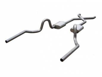 Exhaust System, Dual, 2 1/2 Inch Stainless Steel w/ x-pipe, Street Pro mufflers, rearward style exit tail pipes, cad plated clamps and hangers, Pypes