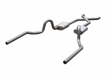 Exhaust System, Dual, 3 Inch Stainless Steel w/ x-pipe, Race Pro mufflers, rearward style exit tail pipes, cad plated clamps and hangers, Pypes
