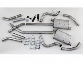 EXHAUST SYSTEM, Dual, 2 1/2 Inch Stainless Steel w/ x-pipe and Street Pro mufflers, Pypes