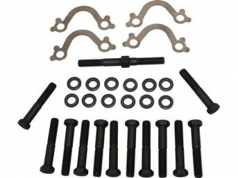 FASTENER KIT, Exhaust Manifolds to Engine Block, (28) incl HX bolts, stud, flat washers and stainless steel french locks, OE-correct repro